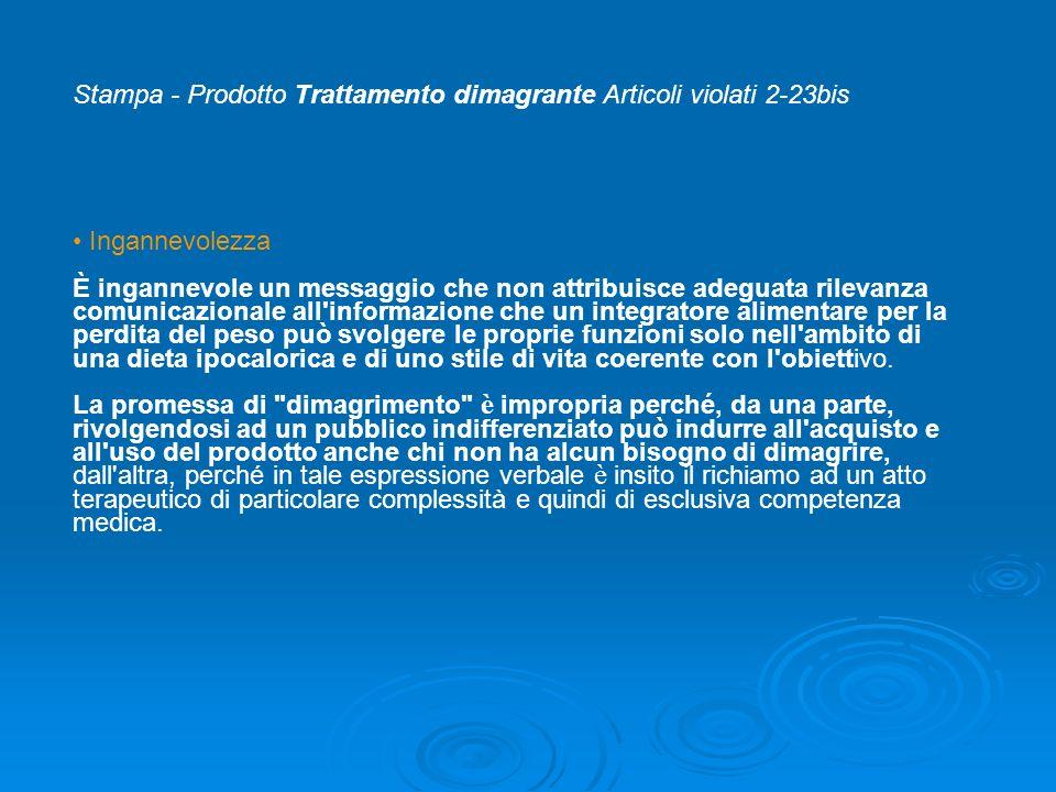 Stampa - Prodotto Trattamento dimagrante Articoli violati 2-23bis