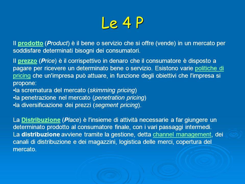 Le 4 P Il prodotto (Product) è il bene o servizio che si offre (vende) in un mercato per soddisfare determinati bisogni dei consumatori.