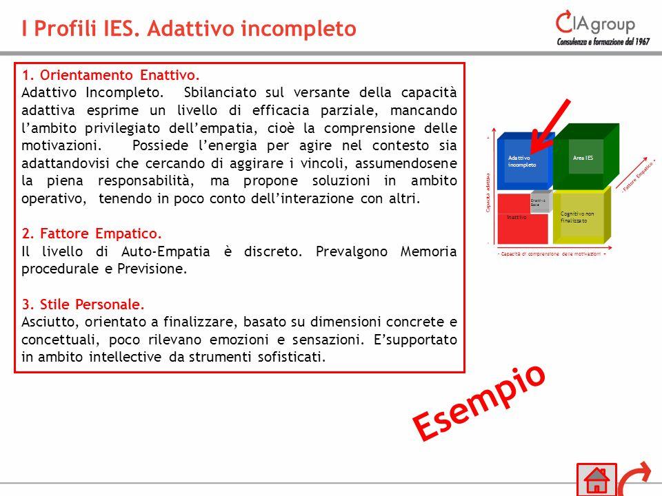 I Profili IES. Adattivo incompleto