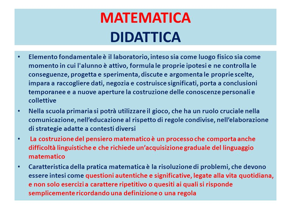 MATEMATICA DIDATTICA