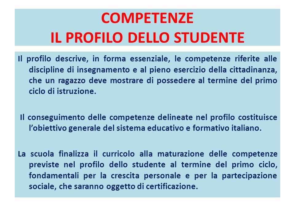 COMPETENZE IL PROFILO DELLO STUDENTE