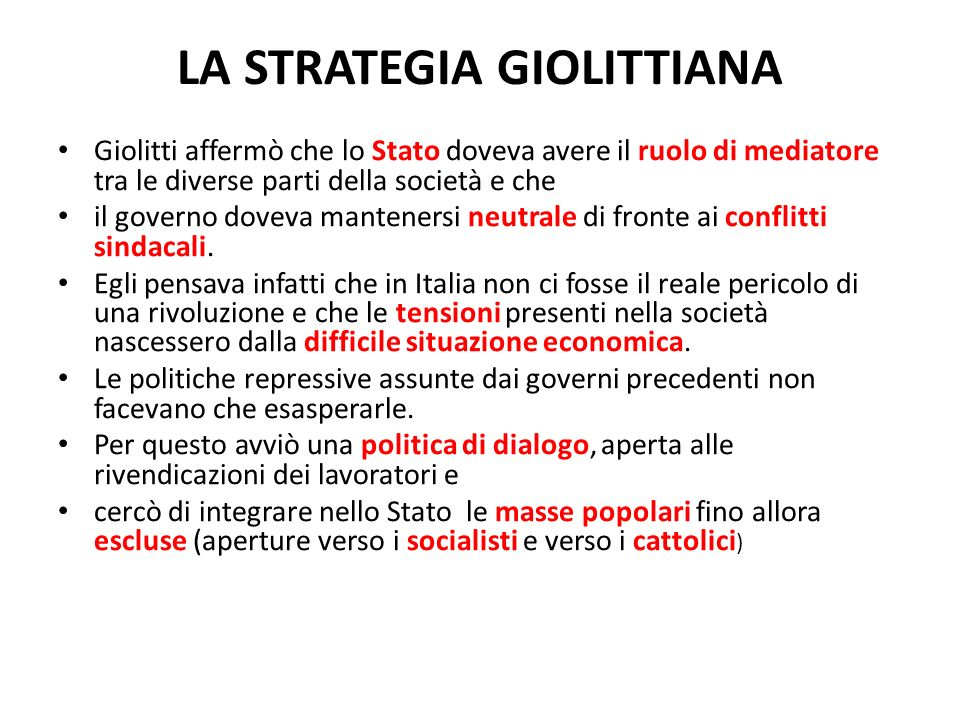 LA STRATEGIA GIOLITTIANA