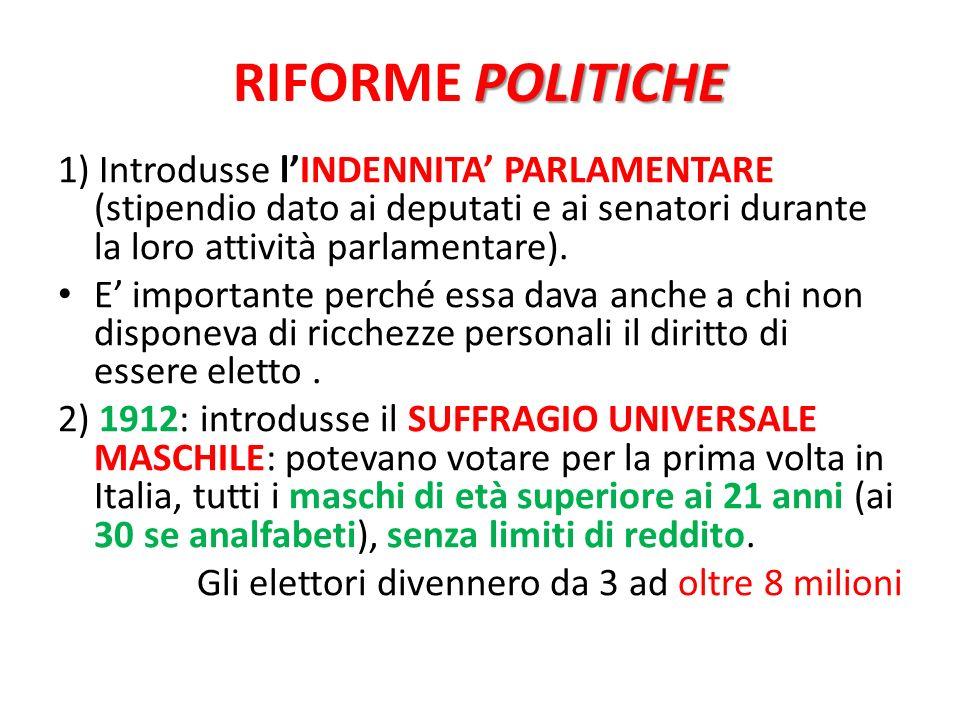 RIFORME POLITICHE 1) Introdusse l'INDENNITA' PARLAMENTARE (stipendio dato ai deputati e ai senatori durante la loro attività parlamentare).