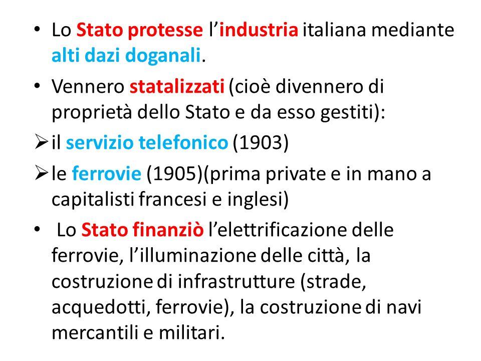 Lo Stato protesse l'industria italiana mediante alti dazi doganali.