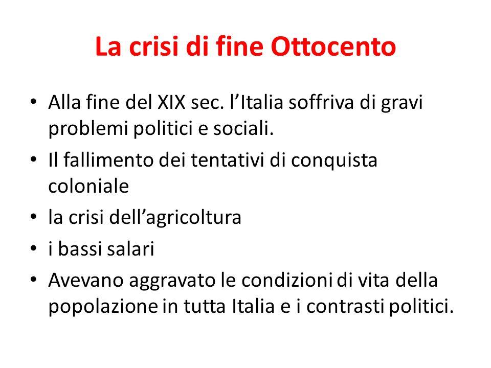 La crisi di fine Ottocento