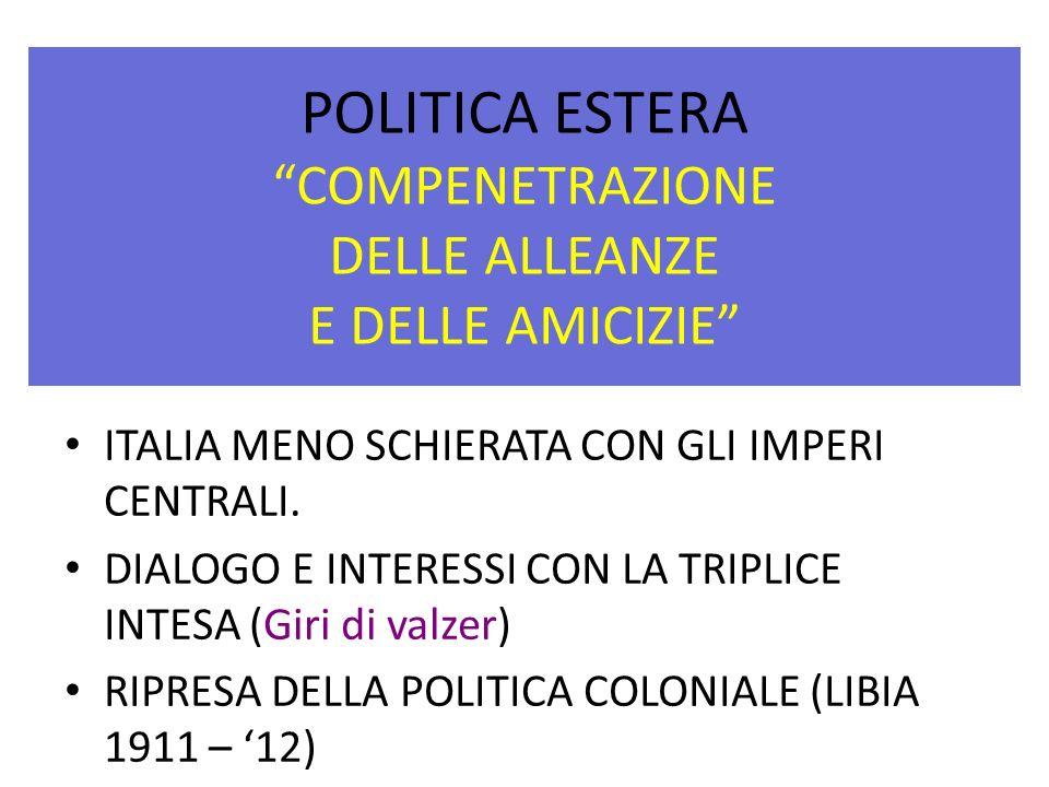 POLITICA ESTERA COMPENETRAZIONE DELLE ALLEANZE E DELLE AMICIZIE