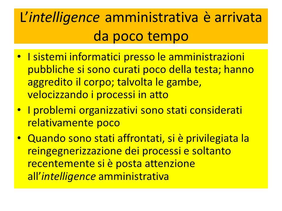 L'intelligence amministrativa è arrivata da poco tempo