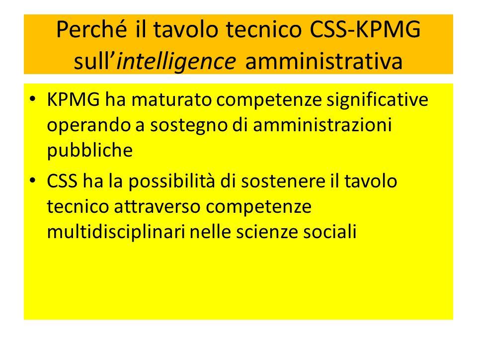Perché il tavolo tecnico CSS-KPMG sull'intelligence amministrativa