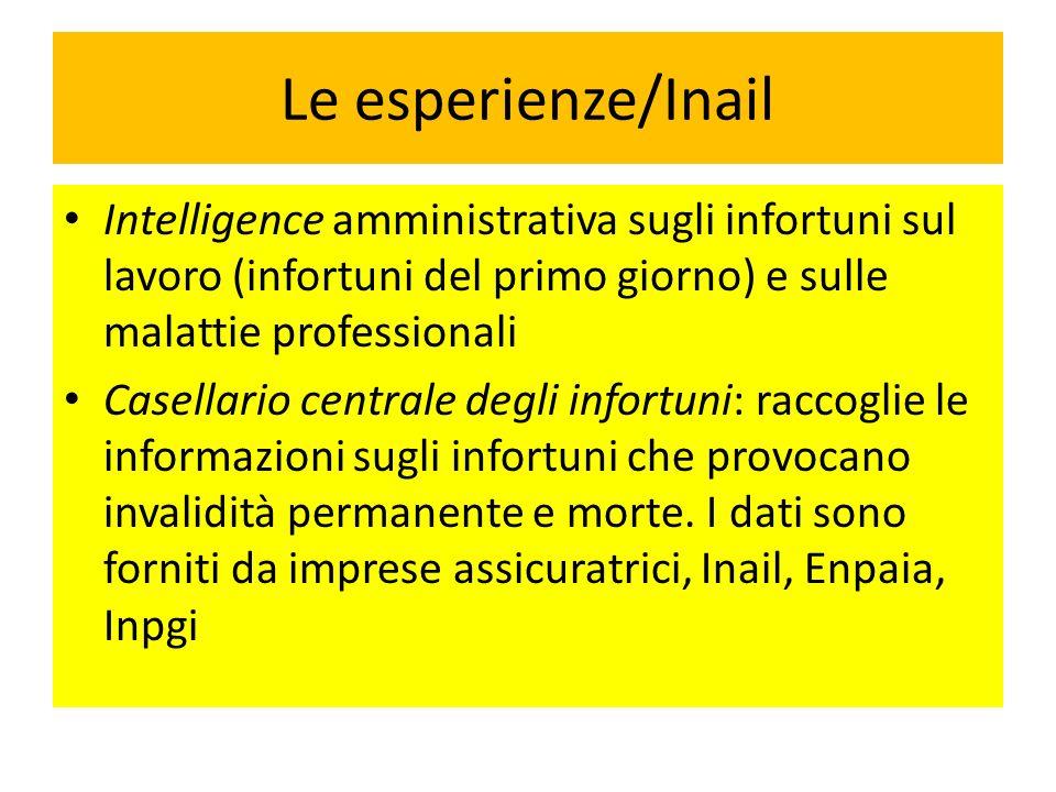 Le esperienze/Inail Intelligence amministrativa sugli infortuni sul lavoro (infortuni del primo giorno) e sulle malattie professionali.