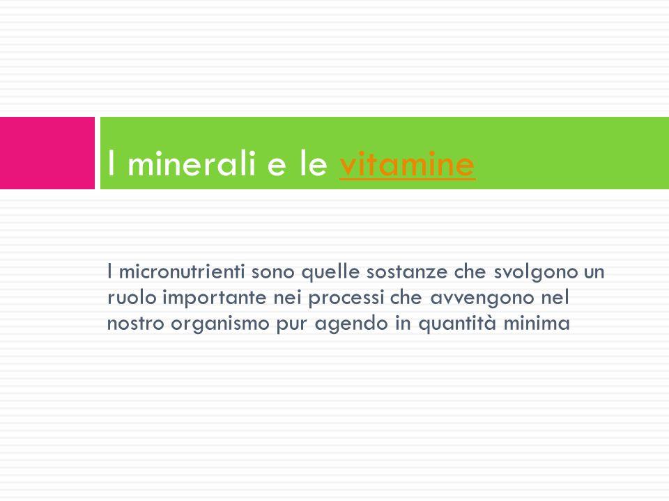 I minerali e le vitamine