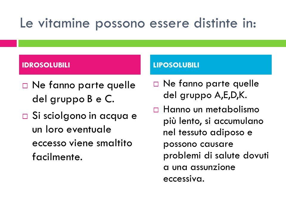 Le vitamine possono essere distinte in: