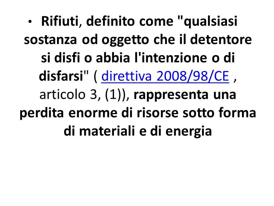 Rifiuti, definito come qualsiasi sostanza od oggetto che il detentore si disfi o abbia l intenzione o di disfarsi ( direttiva 2008/98/CE , articolo 3, (1)), rappresenta una perdita enorme di risorse sotto forma di materiali e di energia