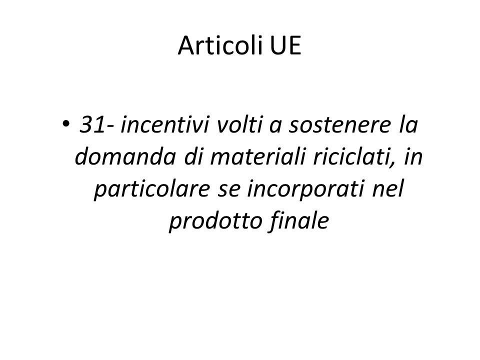 Articoli UE 31- incentivi volti a sostenere la domanda di materiali riciclati, in particolare se incorporati nel prodotto finale.