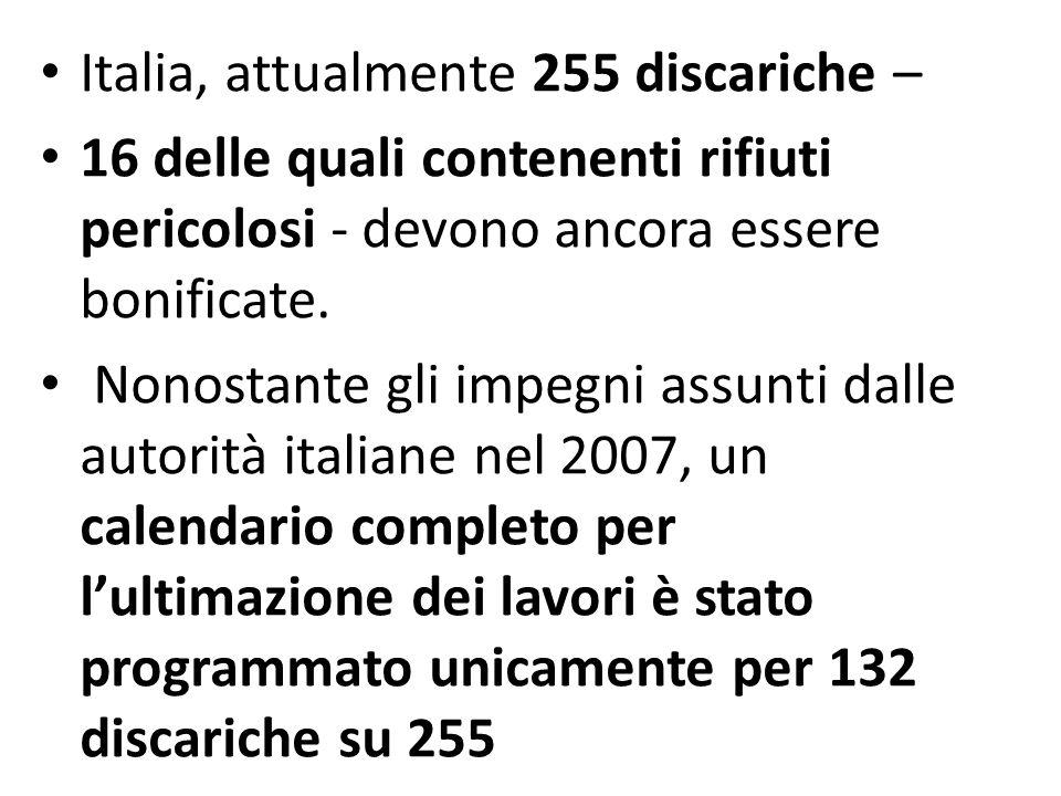 Italia, attualmente 255 discariche –