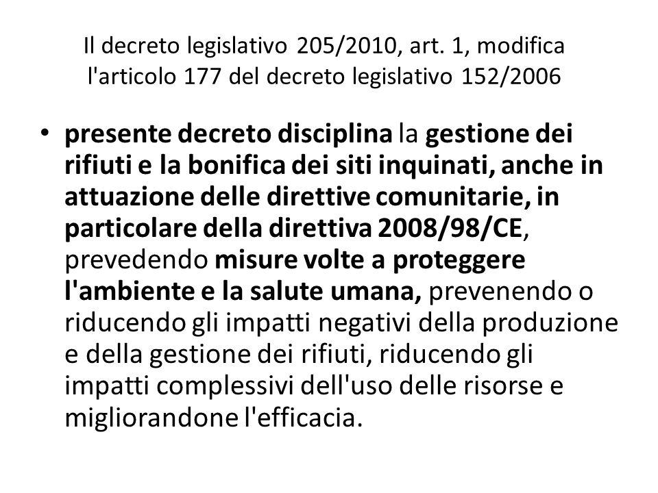 Il decreto legislativo 205/2010, art