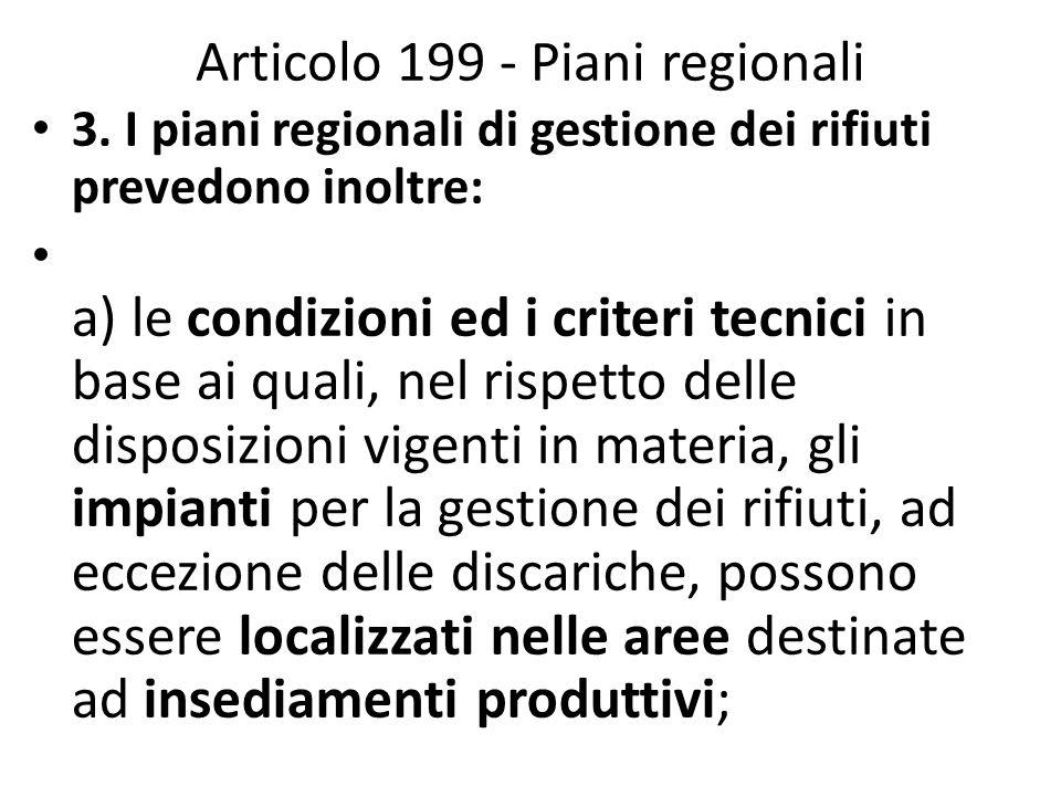Articolo 199 - Piani regionali