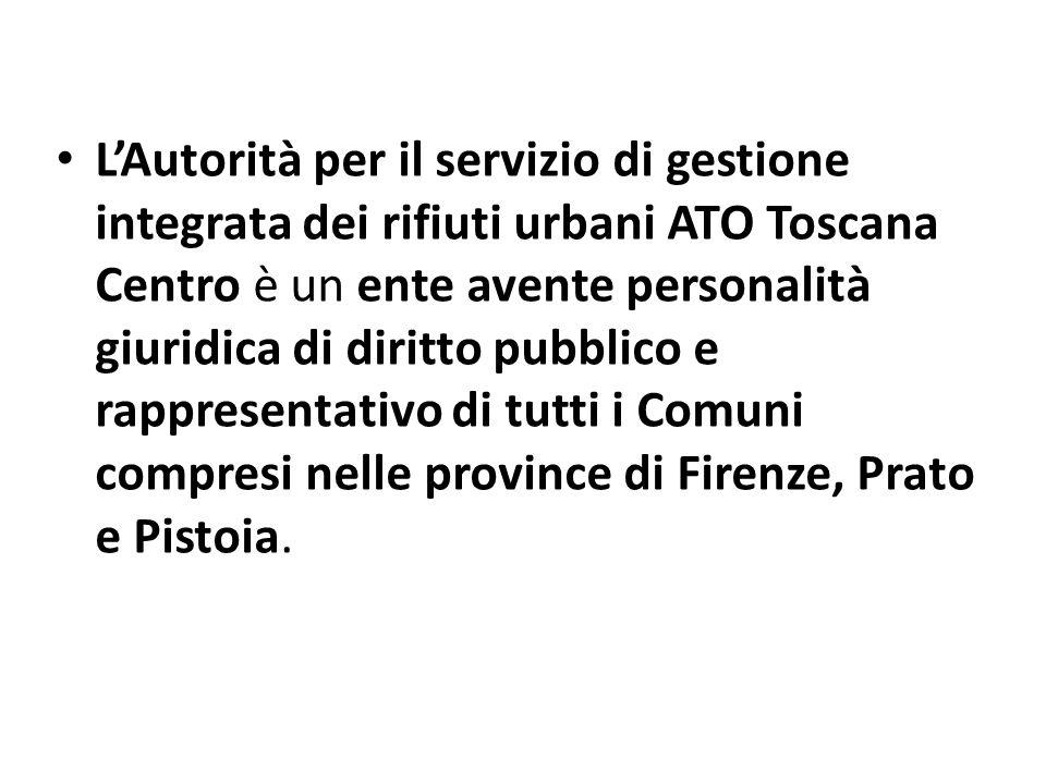 L'Autorità per il servizio di gestione integrata dei rifiuti urbani ATO Toscana Centro è un ente avente personalità giuridica di diritto pubblico e rappresentativo di tutti i Comuni compresi nelle province di Firenze, Prato e Pistoia.