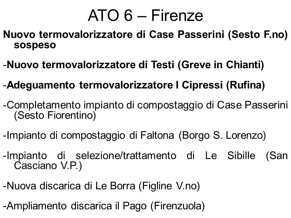 ATO 6 – Firenze Nuovo termovalorizzatore di Case Passerini (Sesto F.no) sospeso. -Nuovo termovalorizzatore di Testi (Greve in Chianti)