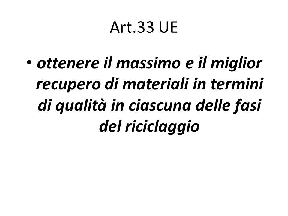 Art.33 UE ottenere il massimo e il miglior recupero di materiali in termini di qualità in ciascuna delle fasi del riciclaggio.