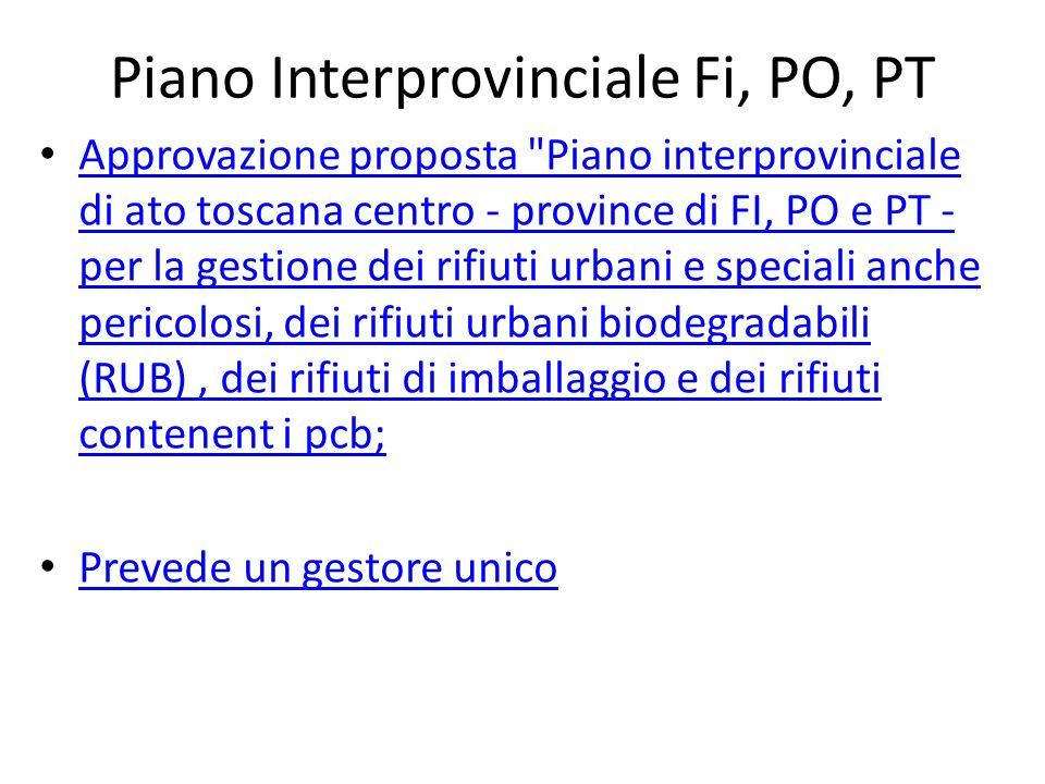 Piano Interprovinciale Fi, PO, PT