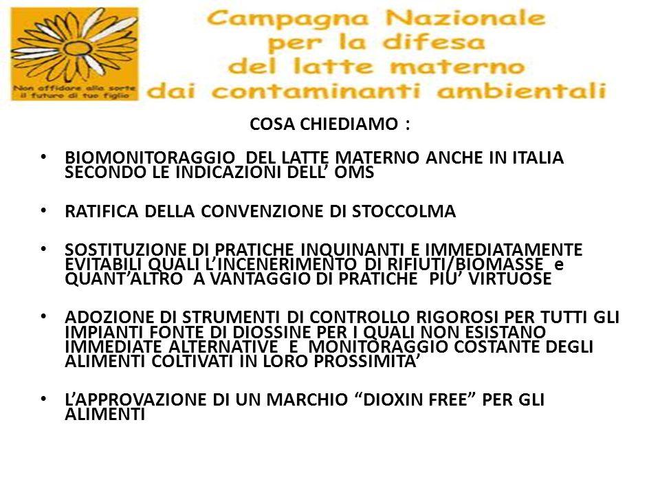 COSA CHIEDIAMO : BIOMONITORAGGIO DEL LATTE MATERNO ANCHE IN ITALIA SECONDO LE INDICAZIONI DELL' OMS.