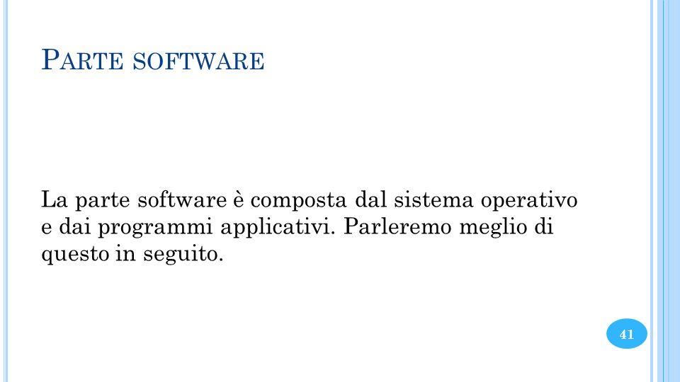 Parte software La parte software è composta dal sistema operativo e dai programmi applicativi.