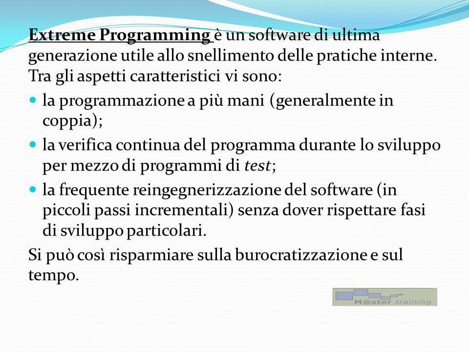 Extreme Programming è un software di ultima generazione utile allo snellimento delle pratiche interne. Tra gli aspetti caratteristici vi sono: