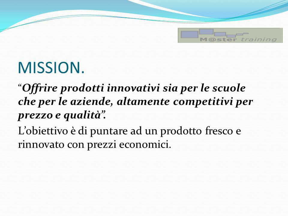 MISSION. Offrire prodotti innovativi sia per le scuole che per le aziende, altamente competitivi per prezzo e qualità .