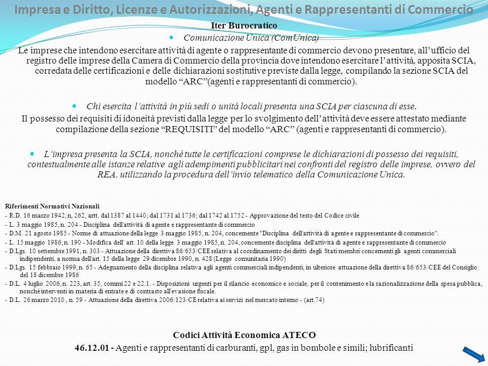 Impresa e Diritto, Licenze e Autorizzazioni, Agenti e Rappresentanti di Commercio
