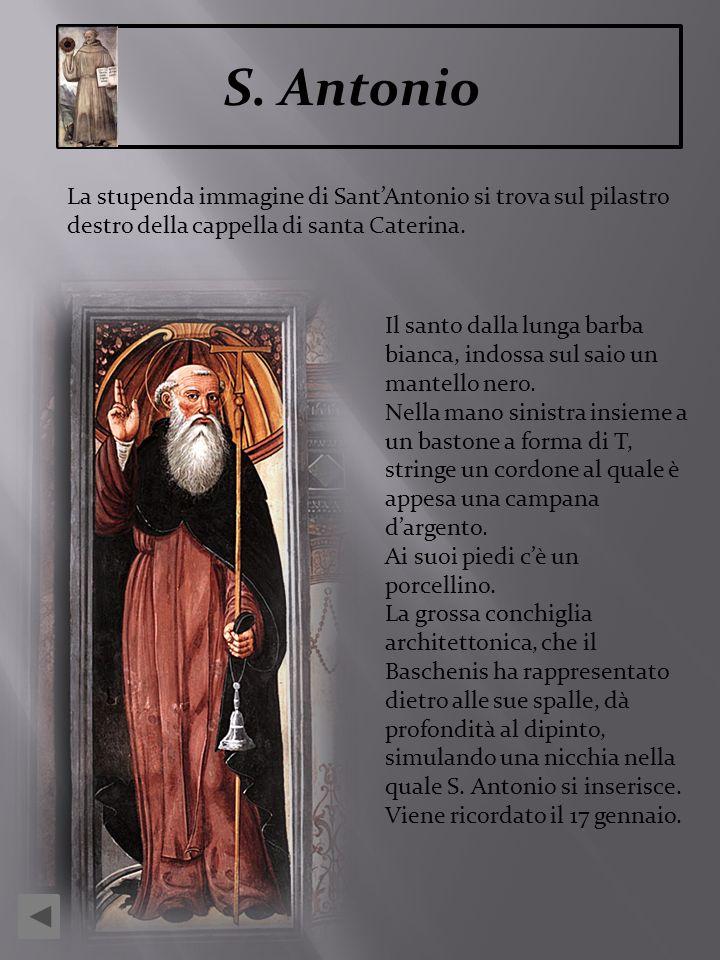 S. AntonioLa stupenda immagine di Sant'Antonio si trova sul pilastro destro della cappella di santa Caterina.