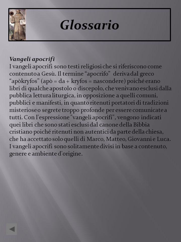 Glossario Vangeli apocrifi