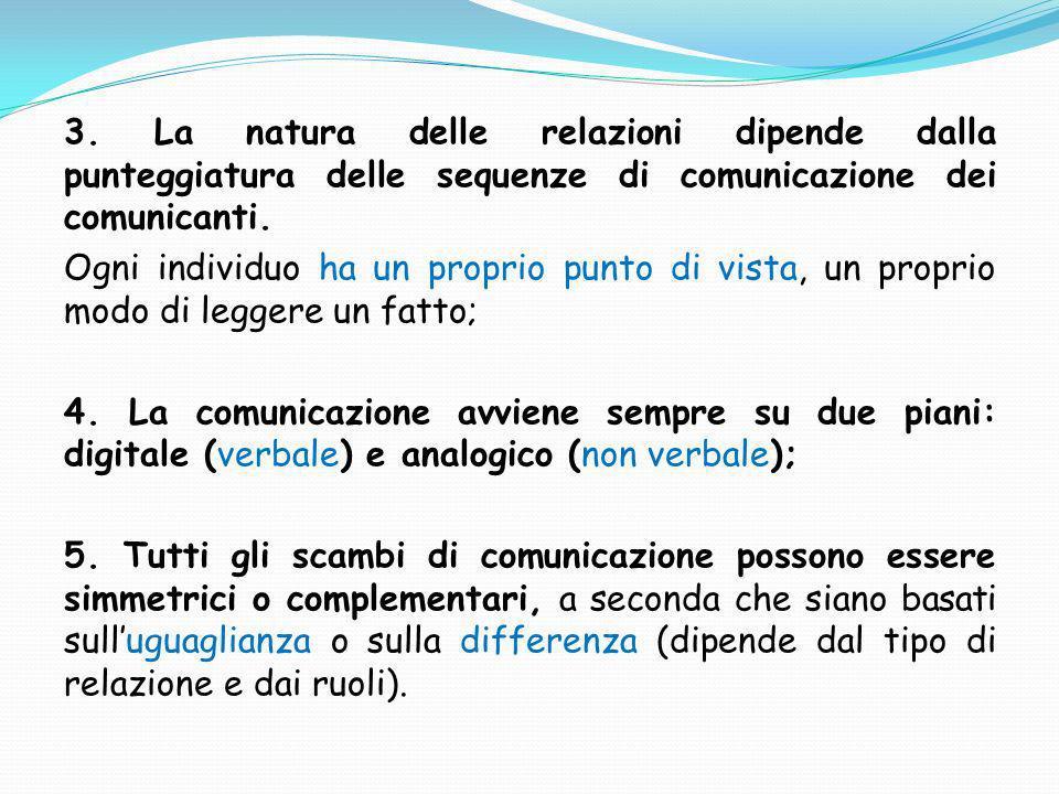 3. La natura delle relazioni dipende dalla punteggiatura delle sequenze di comunicazione dei comunicanti.