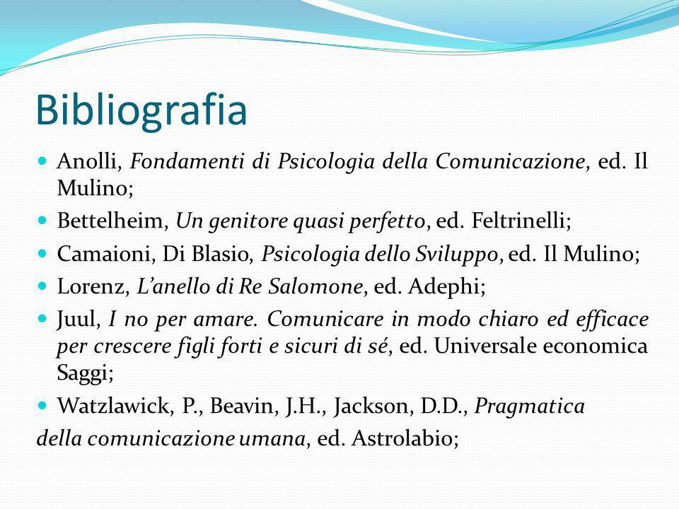 Bibliografia Anolli, Fondamenti di Psicologia della Comunicazione, ed. Il Mulino; Bettelheim, Un genitore quasi perfetto, ed. Feltrinelli;