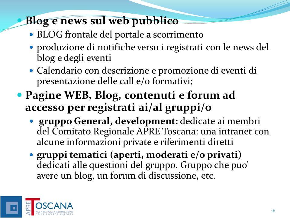 Blog e news sul web pubblico