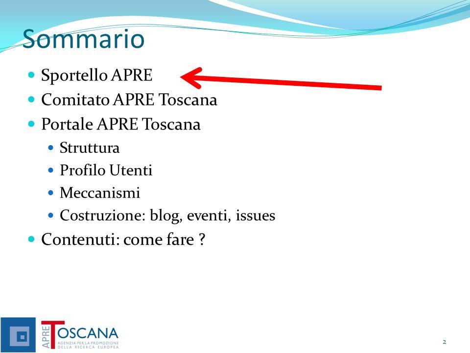 Sommario Sportello APRE Comitato APRE Toscana Portale APRE Toscana