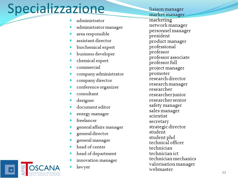 Specializzazione liaison manager market manager marketing