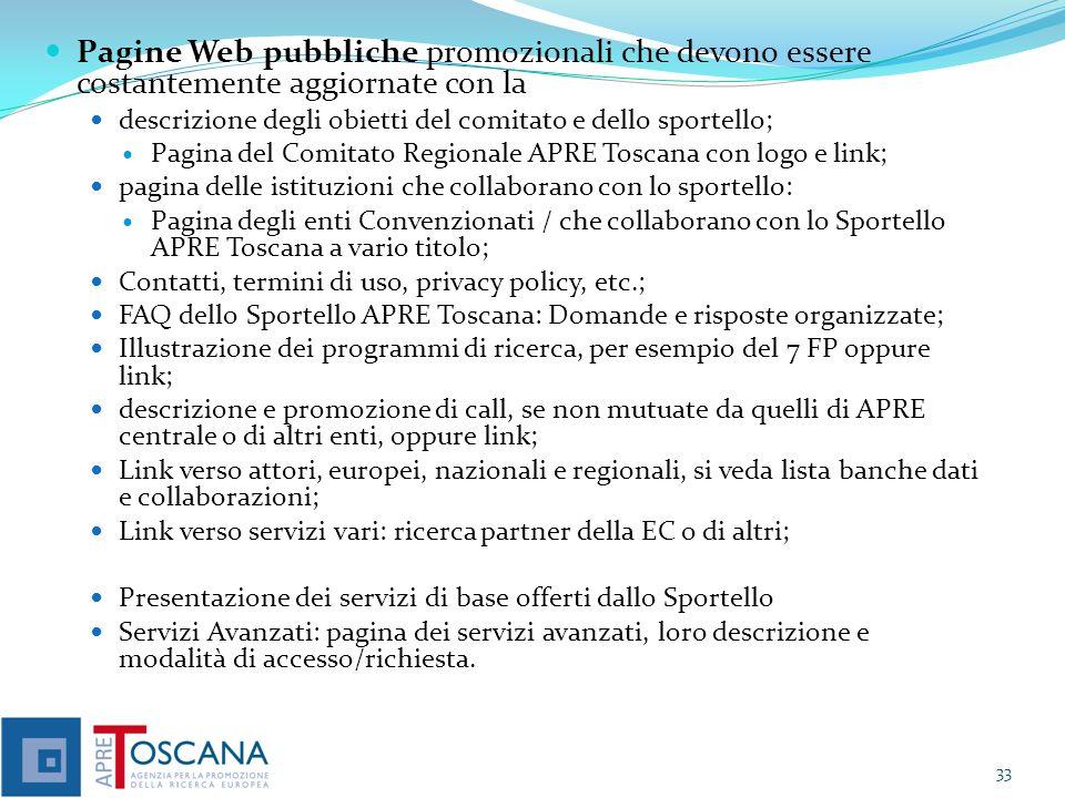 Pagine Web pubbliche promozionali che devono essere costantemente aggiornate con la