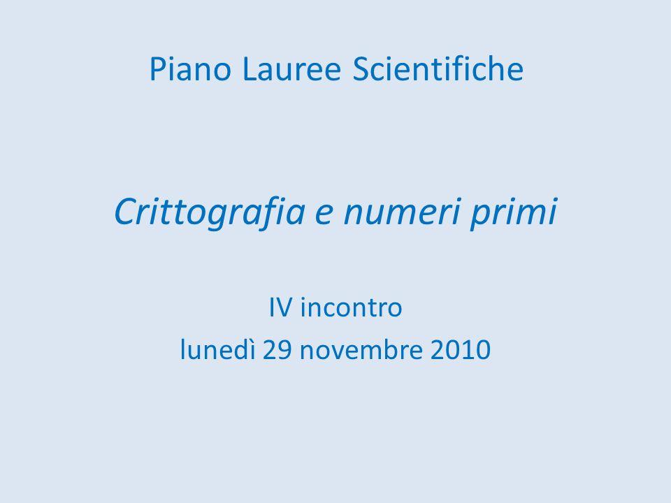 Crittografia e numeri primi