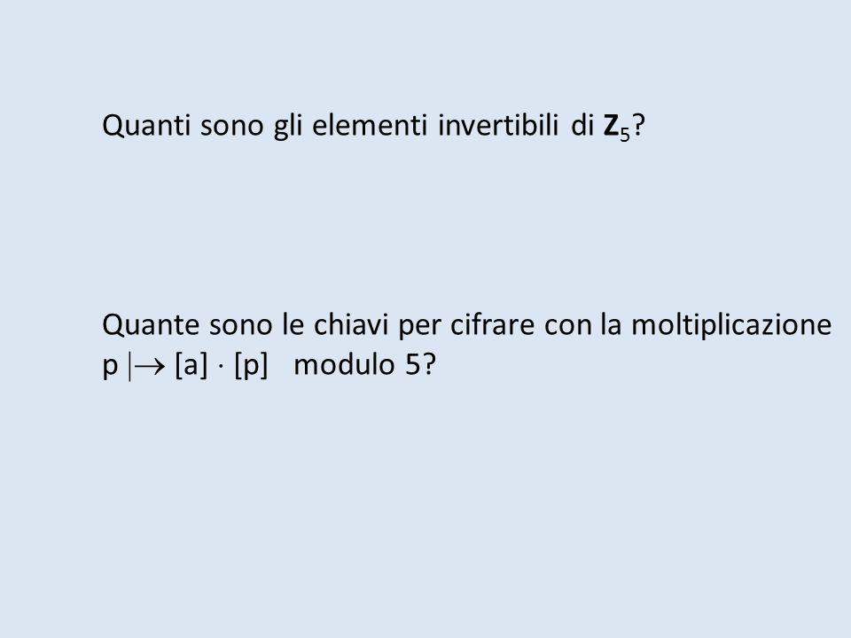 Quanti sono gli elementi invertibili di Z5