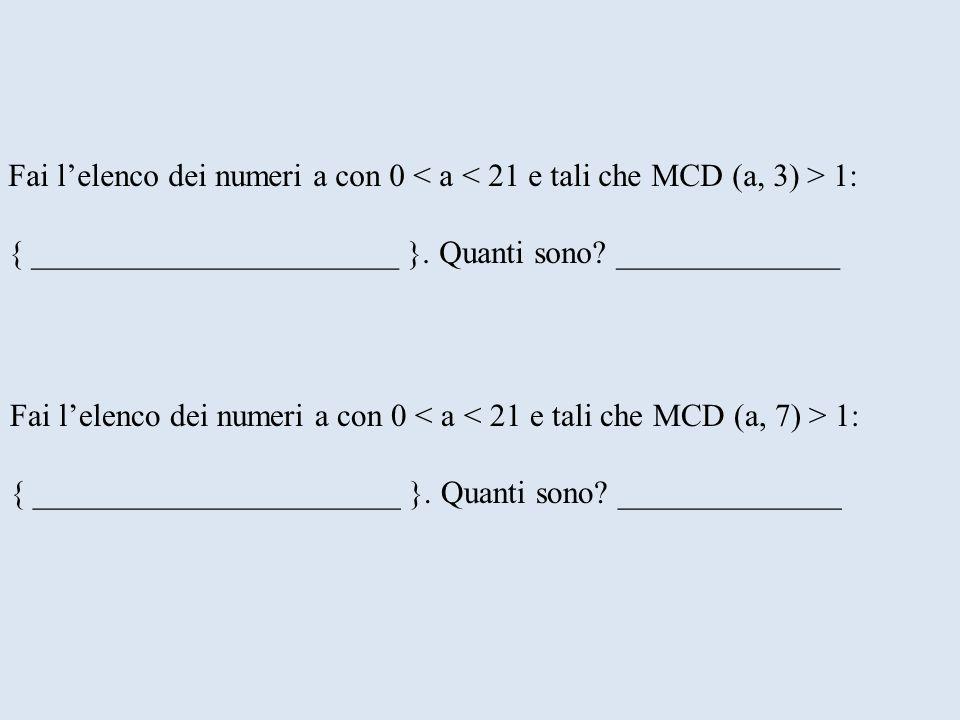 Fai l'elenco dei numeri a con 0 < a < 21 e tali che MCD (a, 3) > 1: