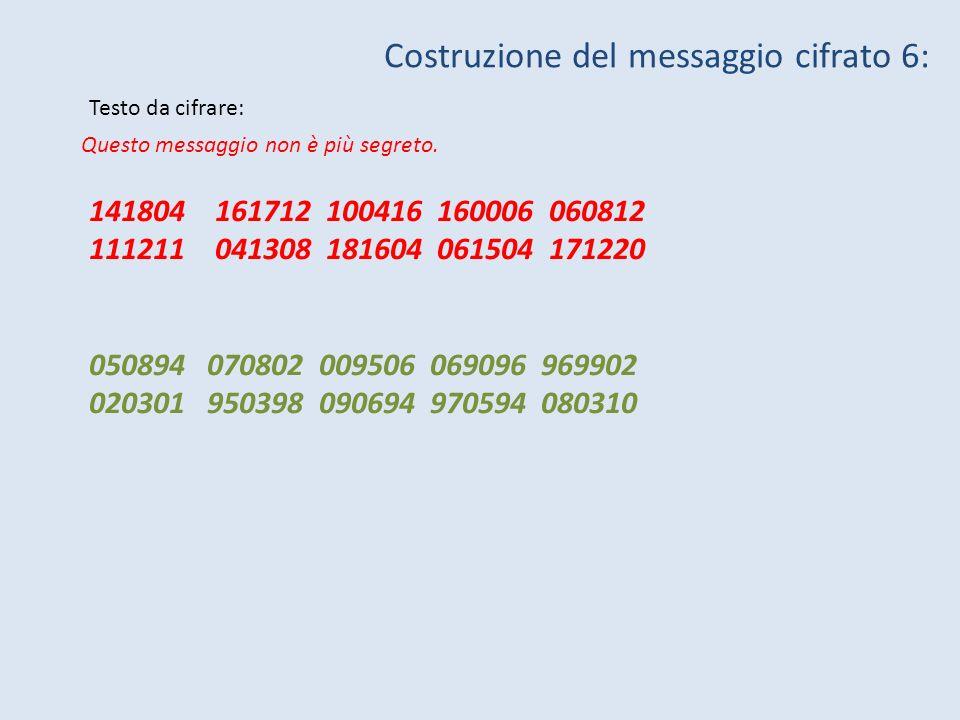 Costruzione del messaggio cifrato 6: