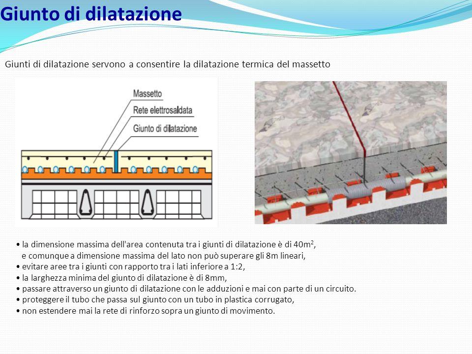 Giunto di dilatazione Giunti di dilatazione servono a consentire la dilatazione termica del massetto.