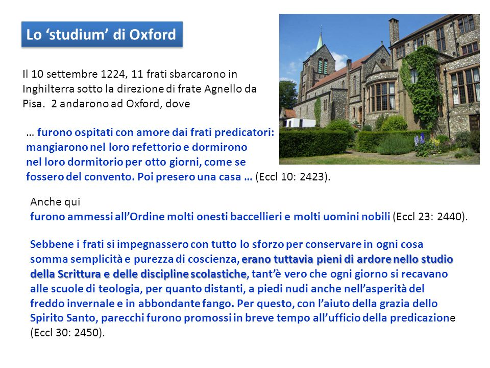 Lo 'studium' di Oxford