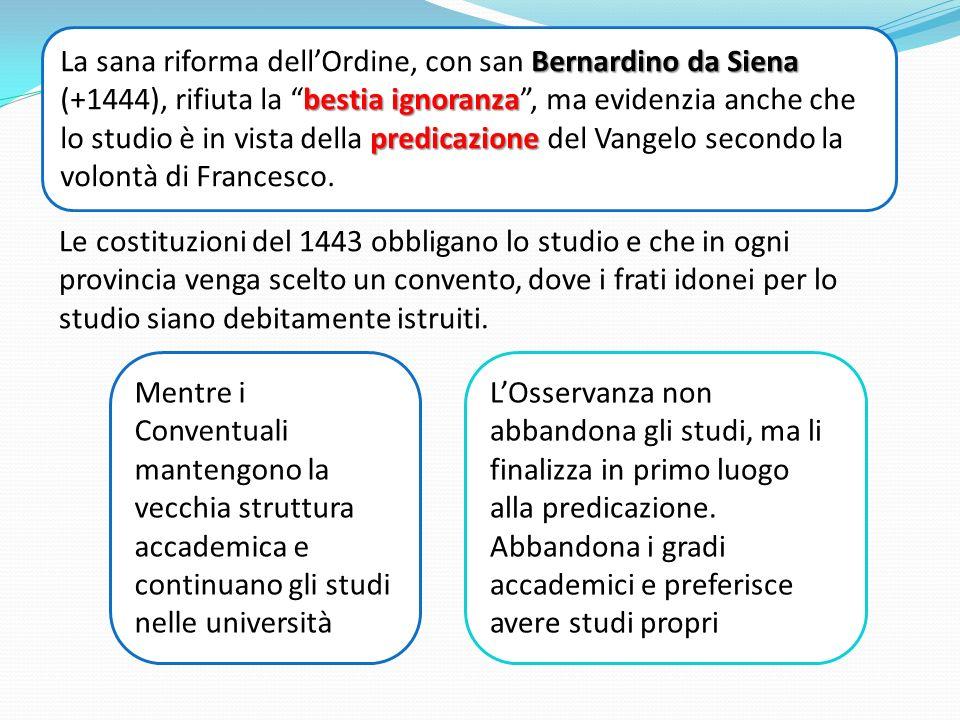 La sana riforma dell'Ordine, con san Bernardino da Siena (+1444), rifiuta la bestia ignoranza , ma evidenzia anche che lo studio è in vista della predicazione del Vangelo secondo la volontà di Francesco.