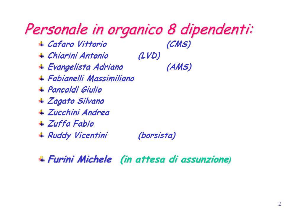 Personale in organico 8 dipendenti: