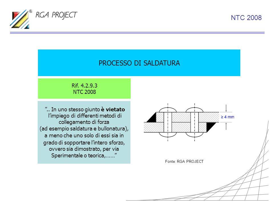 NTC 2008 PROCESSO DI SALDATURA Rif. 4.2.9.3 NTC 2008