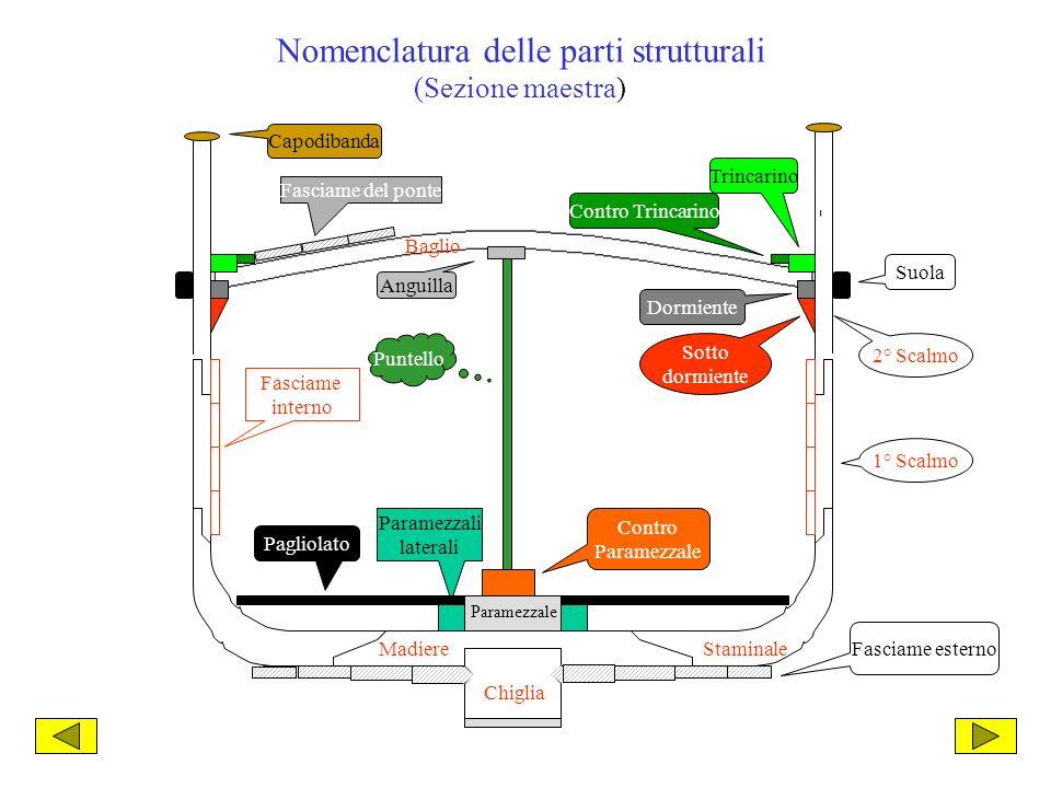 Nomenclatura delle parti strutturali (Sezione maestra)