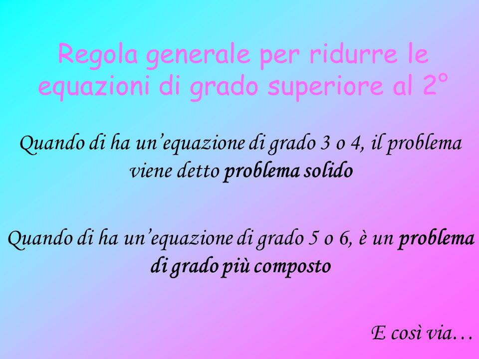 Regola generale per ridurre le equazioni di grado superiore al 2°