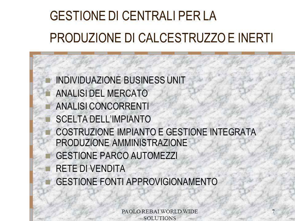 GESTIONE DI CENTRALI PER LA PRODUZIONE DI CALCESTRUZZO E INERTI