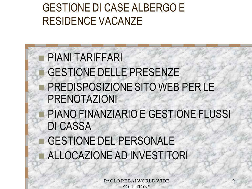 GESTIONE DI CASE ALBERGO E RESIDENCE VACANZE